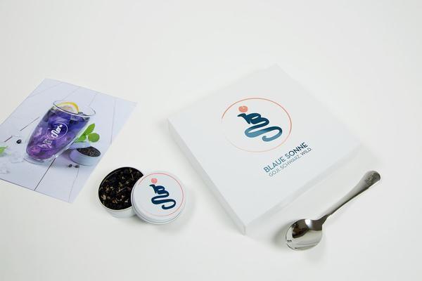 Blaue Sonne - kleine Geschenkbox, schwarze BIO Goji Beeren