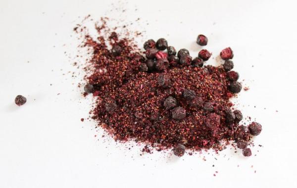 Heidelbeeren Pulver und Stücke, Wildwuchs gefriergetrocknet